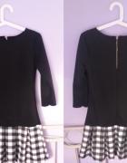 czarna sukienka z kratą cudowna 3638