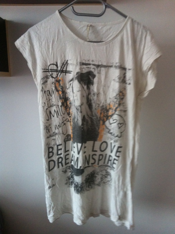 T-shirt Koszulka top M 38 36 nadruk biała tunika S szara
