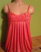 Nowa Błyszcząca tunika sukienka róże Uni