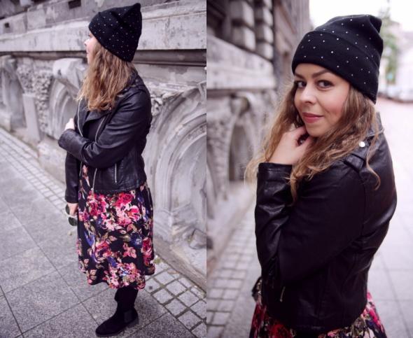 Blogerek sukienka w kwiaty i czarna ramoneska