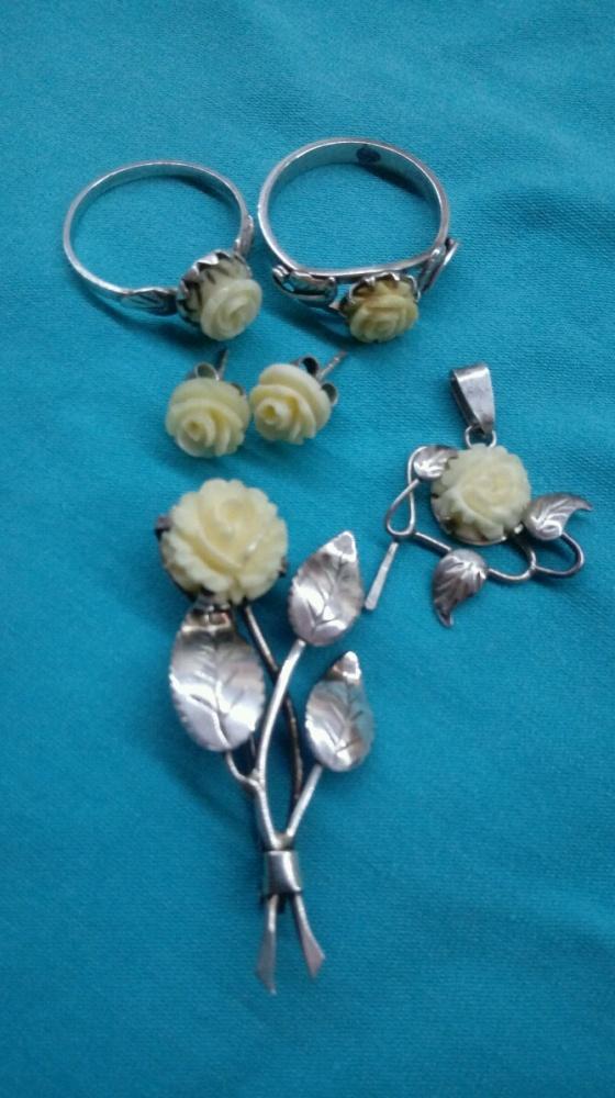 Komplety Królowa Róża z kości srebro warmet