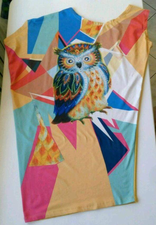 Kolorowa sukienka na jednoramię rozm ML