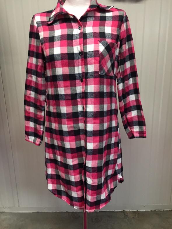 Koszule Długa koszula sukienka tunika w kratkę różowa