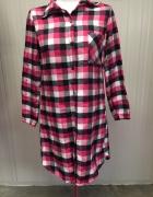 Długa koszula sukienka tunika w kratkę różowa...