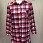 Długa koszula sukienka tunika w kratkę różowa