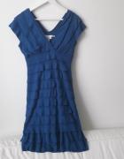 Niebieska sukienka Studio M mini fale rozmiar 36