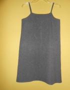 Płótniana fajna szara sukienka L 40 na ramiączka