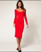 ASOS czerwona sukienka midi S...