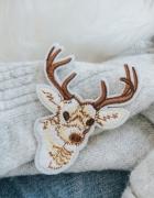 Swiateczna naszywka na ubranie poduszke renifer...