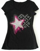 T shirt Top Krótki rękaw Brokat Cekiny Glam 38 M