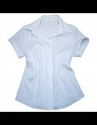 Koszula Biała Dekolt Kołnierzyk Bawełna 38 M
