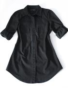 Koszula Czarna Taliowana Kołnierzyk 38 M 40 L