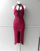 In The style burgundowa sukienka midi 38...