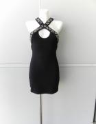 Asos petite czarna sukienka koraliki zdobienia 34...