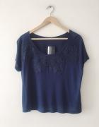 Granatowa bluzka z koronka boho style...