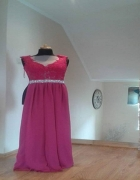 Piękna długa amarantowa suknia...