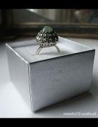 warmet kopułka kamień stary srebrny pierścionek