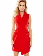 Elegancka asymetryczna sukienka kołnierz czerwona...