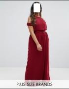 Bordowa maxi sukienka 48 50 52...
