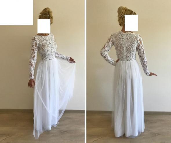 Suknia ślubna Boho Rustykalna Z Długim Rękawem W Suknie ślubne