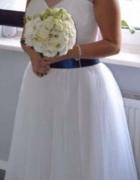 Suknia ślubna krótka tiul kokarda...