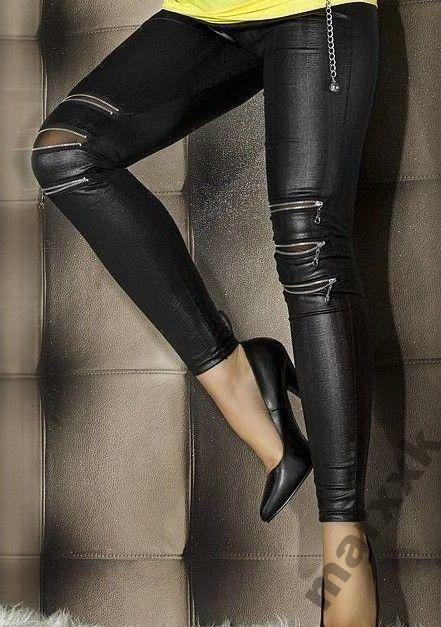 Czarne spodnie suwaki na kolanach mega sexy