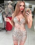 Sukienka naked z kryształami mgiełka