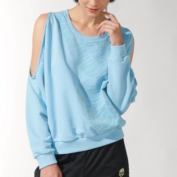 Nowe zdjęcia klasyczne buty tanie trampki Adidas by rita ora bluza odkryte ramiona S błękitn w Bluzy ...