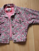 katana kurtka krótka kwiatki jeans