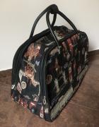 Torba podróżna haftowana na kółkach wzór retro vintage