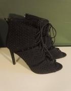 ZARA 39 czarne wiązane sandałk szpilki gladiatorki