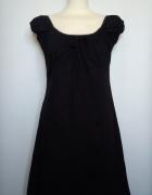 Czarna trapezowa klasyczna bawełniana sukienka