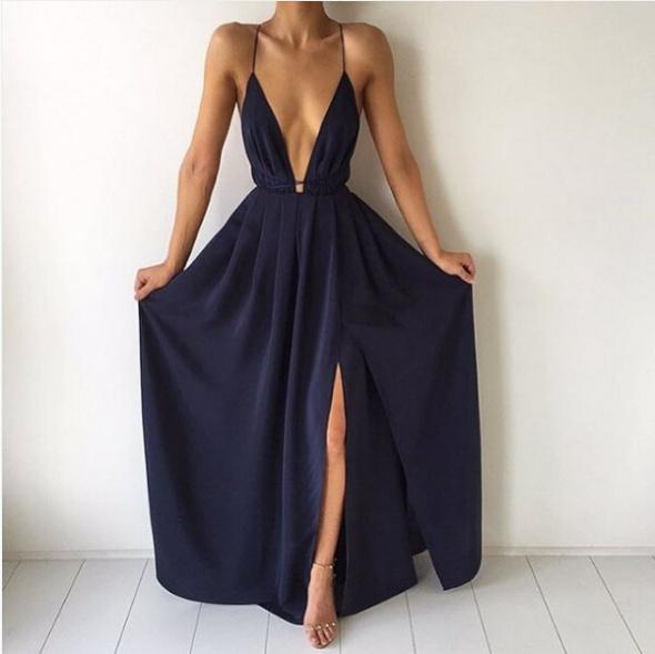 Granatowa maxi sukienka rozcięcie S