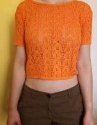 Pomaranczowa bluzka dzianinka piękny wzor