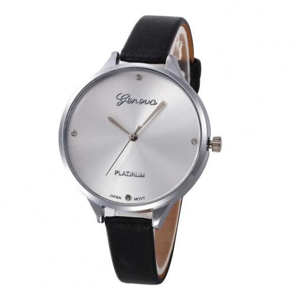 Zegarki Zegarek damski Geneva Platinium czarny srebrny