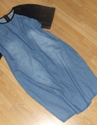 Super sukienka jeans zip skóra DENIM
