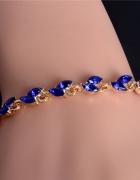 Bransoletka elegancka złota kryształ 20 cm niebies