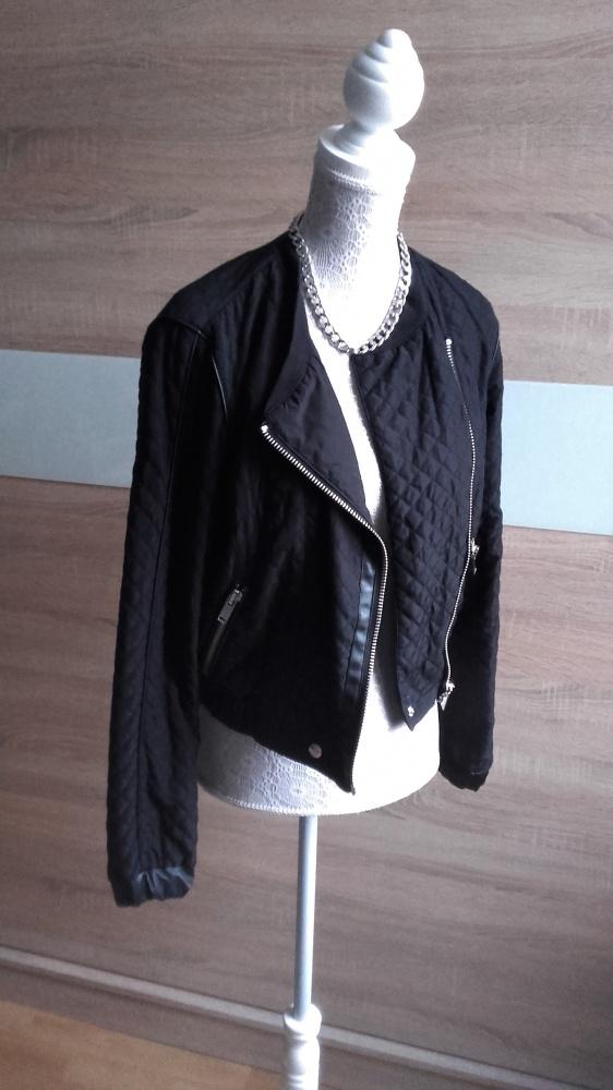Odzież wierzchnia Czarna pikowana ramoneskaskórzane wstawki