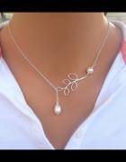 Naszyjnik fashion srebrny liść perełka