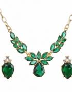 Elegancki złoty komplet ślub zielone kryształy