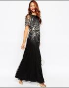 Asos maxi suknia red carpet czarna cekiny glamour