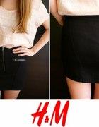 Czarna spódniczka h&m jeansowa z zamkami 34 xs