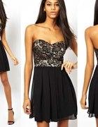 mała czarna asos sukienka koronka tiul gorset sexy