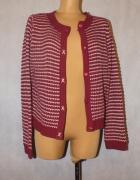 Czerwono biały sweter we wzorek Rozmiar 42