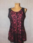 Różowa tunika z czarną koronką Rozmiar 42