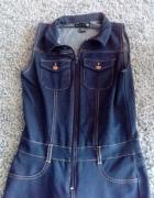 Bawełniany kombinezon ala ciemny jeans S