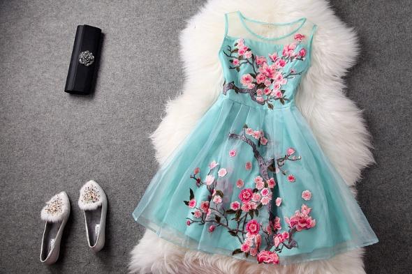 Suknie i sukienki HAFTOWANA SUKIENKA Z TIULU TIULOWA KWIATOWA FLORAL