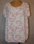 Biała bluzka w kolorowe kwiaty Bm Rozmiar 50