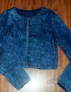 jeans marmurkowy bolerko narzutka
