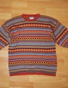 Sweter kolorowy skandynawskie wzory 146 152...